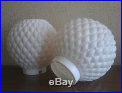 PAIR vntg RETRO Mid Century BEEHIVE tripod Bubble LAMPS