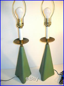 Pair 1950's Vintage Mid Century Modern Atomic Sputnik Ceramic Table Lamp Retro