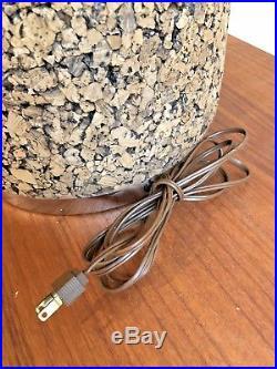 Pair 2 Vintage Laurel 25 MCM Chrome Cork Table Lamps. Mid Century Modern Retro