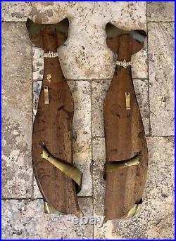 Pair MID CENTURY 1961 Masketeers Teak Wood & Brass Siamese Cats 26 Wall Art