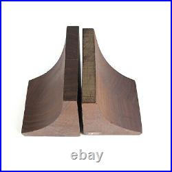 Pair Mid Century Danish Modern Heavy Wood Bookends From Denmark Vintage MCM Set