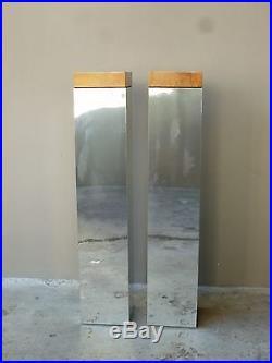 Pair Of Fabulous Milo Baughman Chrome And Burled Wood Pedestals