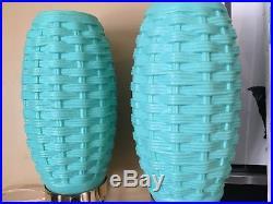 Pair/Set of 2Vintage Retro Plastic Lamps Beehive Tripod AQUA Mid-Century Modern