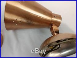 Pair Vintage 1950s Mid Century Spun Aluminum Copper Colored Sconces Atomic Retro