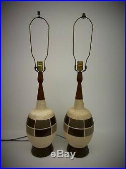 Pair Vintage Ceramic Table Lamps Mid Century Modern Retro Ceramic Brown Wood