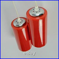 Pair Vintage French Ceiling Lights Red Cased Glass Chrome Retro Mid Century 60's