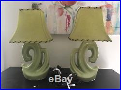 Pair Vintage Mid Century Modern Retro Ceramic Lime Green Table lamps W Shades