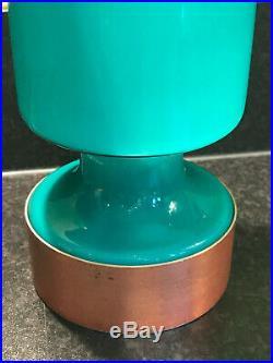 Pair Vintage Mid Century Opaline Glass Swedish Lamp Shades Turquoise Lights