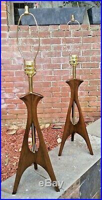 Pair Vintage Retro Atomic Mid-century 1960's Teak Table Lights Lamps Excellent