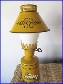 Pair Vintage Retro Tole Mid Century Mustard Yellow Hurricane Table Lamps