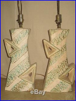 Pair Vintage Zig Zag Mid-century Majestic Retro Atomic Table Lamp No Shades