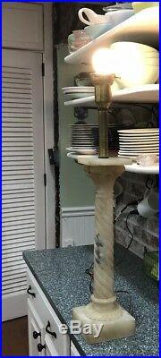 Pair Vtg LAMPS HOLLYWOOD REGENCY Alabaster RETRO MIDCENTURY marble italian 28.5