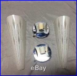 Pair Vtg Mid Century Modern Chrome Glass Sconce Retro Light Atomic 155-18J