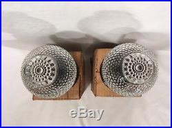 Pair Vtg Outdoor Porch Ceiling Lights Fixtures Mid Century Hobnail 50s Retro NOS