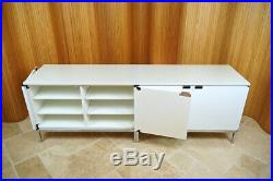 Pair White Marble Knoll Credenza 95 Sideboard Cabinets, Vintage Mid Century Mod