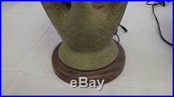 Pair of 1950s Vintage Modern Mid Century Modern Ceramic Wood Table Lamps Retro