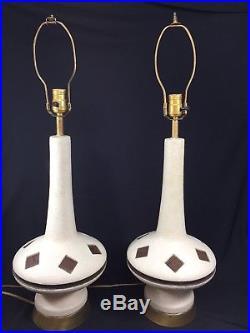 Pair of 2 F. A. I. P Chalkware Genie Bottle Lamps Vintage Retro 60s Mid Century Set