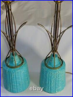 Pair of Mid Century Modern MCM Turquoise Blue Squiggled Table Lamps