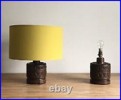 Pair of Mid-Century Modern Oak Carved Wood Table LAMP BASES Vintage Retro 1960s