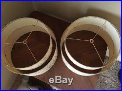 Pair of Mid Century Vintage Style 2 Tier Fiberglass Lamp Shades Atomic Retro MCM
