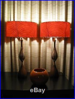 Pair of Mid Century Vintage Style Fiberglass Lamp Shades Modern RED RETRO