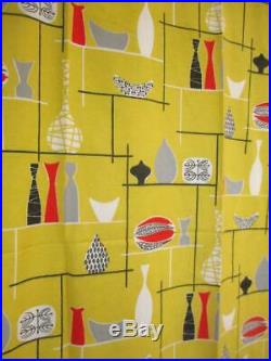 Pair of Vintage 1950's Barkcloth Atomic Curtains Yellow 133cm Drop Mid-Century