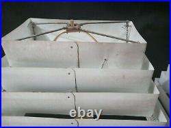 Pair of Vintage Atomic Mid Century Retro WHITE 7 Tier Venetian Metal Lamp Shades