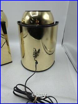 Pair of Vintage MCM Mid-Century Gold Orb Eyeball Lamps, Retro design
