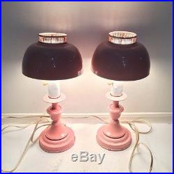 Pair of Vintage Mid-Century Retro Pink Desk or Table Lamps See Pics