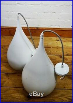 Pair of Vintage Mid Century Style Pendant Ceiling Light Lamp White Metal Retro