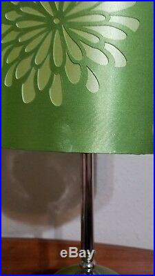 Pair of Vintage Retro Green Satin Lamps 60's Mid Century Style