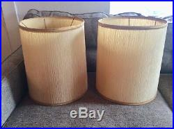 Pair of Vintage retro mid century modern mcm Barrel drum table Lamp Shades