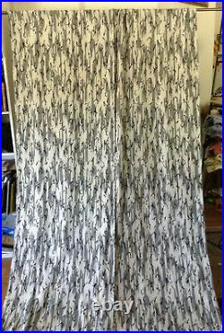 Pair of vintage mid century modern abstract fabric huge drapery drapes curtains
