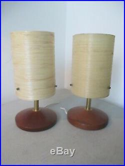 Pair retro 60s/70s Mid Century Modern Fibreglass & Teak Rocket Table Lamps