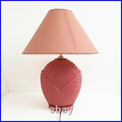 Pink 80s Glass Table Lamp Midcentury Modern Vintage Retro Hollywood Regency