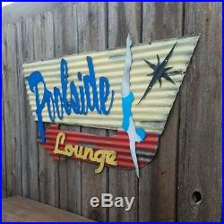 Poolside Lounge Mid-Century Retro Painted Flat Metal Sign FREE SHIPPING