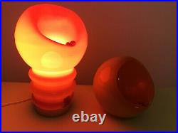 Psychedelic Space Age Set Ashtray-lamp And Ashtray Modernism Mouthblown Glass