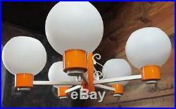 RARE NOS Mid Century Modern Orange Ceiling Light Fixture Retro Atomic Space