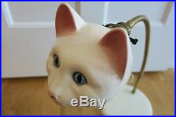 RARE! Vintage Retro Mid Century CERAMIC KITTY CAT GOOSENECK DESK LAMP