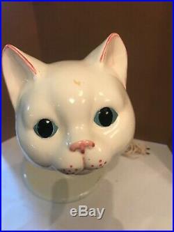 RARE Vintage Retro Mid Century CERAMIC KITTY CAT GOOSENECK DESK LAMP Weird