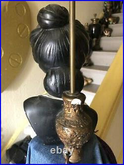 RARE Vintage Retro Oriental Plaster Tretchikoff Lamps X2. Chinese Lady Lamps