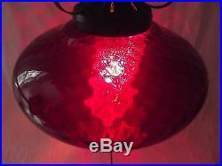 RED SWAG LAMP rare ruby red glass hanging vintage Mid Century RETRO MCM ceiling