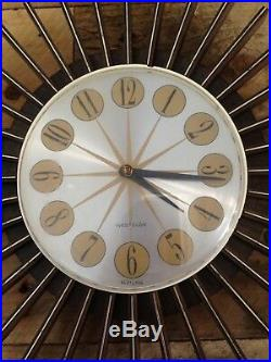 RETRO 60s 70s WESTCLOX SUNBURST PULLSTRING PLASTIC WALL CLOCK MID CENTURY MODERN
