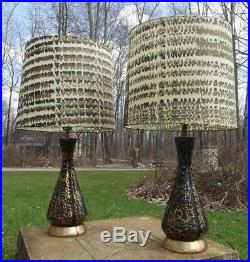 RETRO TABLE LAMPS 2 mid century modern CONE atomic vintage FIBERGLASS SHADES 50s
