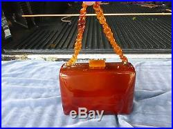 Rare 1940's Pristine Caramel Catalin Bakelite Handbag, A Real Beauty