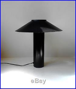 Rare 1970s Danish Modernist Minimalist Table Lamp Black Atlantis Hans Schwazer