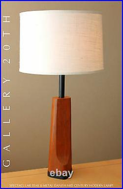 Rare! MID Century Danish Modern Teak Lamp! Retro Table Vtg 50's 60's Atomic Home