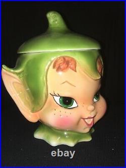 Rare Mint Vintage Lefton Pixie Elf Cookie Jar Christmas Pixieware Retro Kitchen