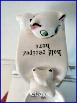 Rare Signed 1959 Holt Howard Cozy Kitten Cat SPOON REST / RECIPE HOLDER W FISH