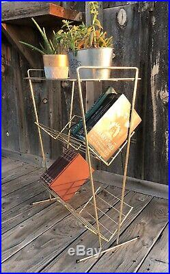 Rare Vintage Brass Wire Atomic Mid Century Modern MCM Shelf Plant Bookshelf